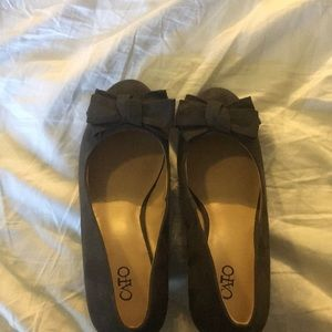 Grey Cato Bow Playform Shoes